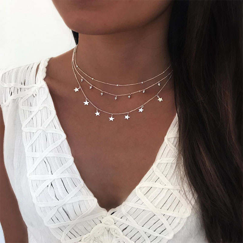 ELESHE Real 925 Sterling Silver Choker Rhinestone Star Pendant Necklace Crystal Women Chain Sterling Silver Fine Jewelry Gift