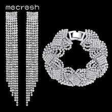 Mecresh Top Crystal Tassel Bridal Jewelry Sets Silver Color Wedding Party Earrings Bracelets Set Jewelry Accessories EH424+SL076