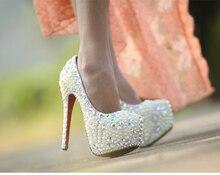 Handmade Crystal diamond pearl wedding  queen high heel Imitation Pearl Bridal Wedding Dress Shoes Popular women Shoes
