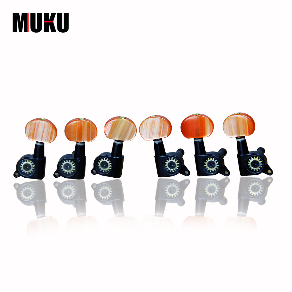 Single Locked MUKU M-01 Guitar Tuner Pegs Acoustic Guitar Tuning Pegs Folk Guitar Tuning Keys Guitar Machine Head Tuner Keys fluorescent orange yellow high