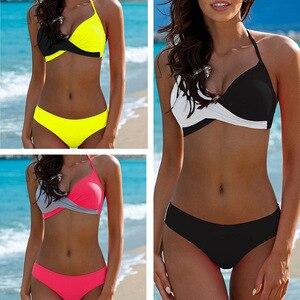 ESSV сексуальное бикини, женский купальник, пуш-ап, бикини, женский, купальный костюм, Бразильское бикини, комплект, однотонная пляжная одежда ...