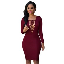 DL22438 Open front strap see through autumn women's dress bodycon club dresses long sleeve knee length midi sexy party dresses
