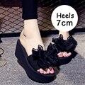 Cuñas de las mujeres Zapatos de La Mujer Zapatillas Sandalias de Plataforma de La Nueva Manera 2017 verano Zapatos de Las Señoras Sandalias Mujer Caliente