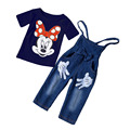 2016 Spring Girls Cute Cartoon short sleeves T-Shirt + Suspenders Jeans two-piece Children's Suits Toddler Clothing Wear
