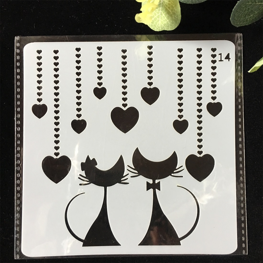1Pcs 13cm Lover Heart Cat DIY Layering Stencils Wall Painting Scrapbook Coloring Embossing Album Decorative Card Template