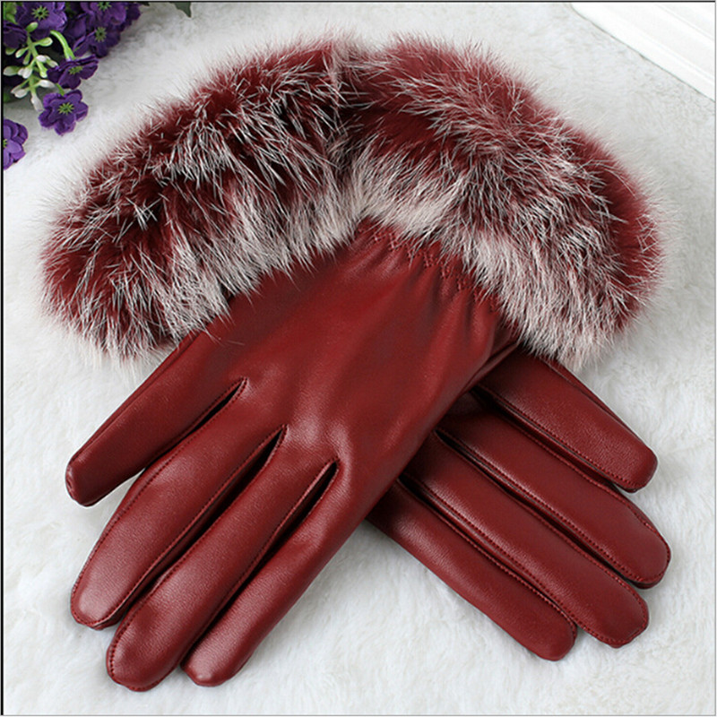 Womens Winter Warm Leather Gloves Fashion Click Phone Touch Screen Thickened Fur Gloves Outdoor