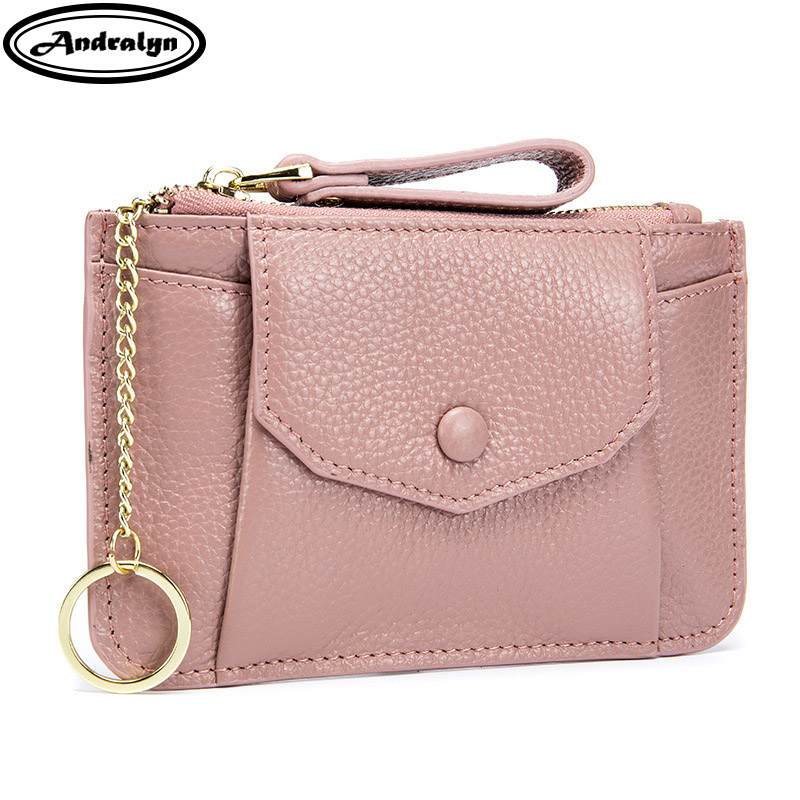 Andralyn 2018 New Genuine Leather Ladies Wallets Women Zipper Coin Pocket Card Wallet Small Purse with Key Ring
