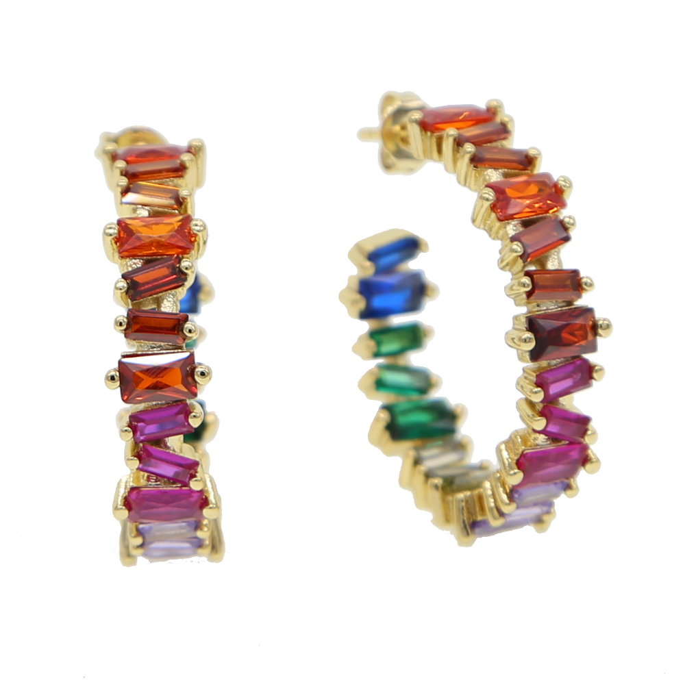 Baguetee cz red passion Hoop Earrings For Women multi color stone Earring Fit wedding fashion rainbow big earing Jewelry 2018