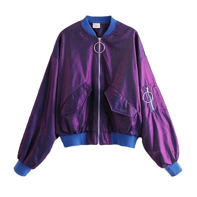 Fashion Pleated Sleeve Women   Basic   Coats Autumn Loose Bomber   Jacket   Women Short Baseball   Jacket   Pocket Zipper Windbreaker Tops