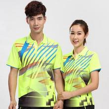Nowe męskie koszulki badmintona kobiety Lapel z krótkimi rękawami Szybkoschnące oddychające koszulki tenisowe Mężczyźni Tenis stołowy t-shirty tanie tanio 0Y8K Unisex Pasuje do rozmiaru Weź swój normalny rozmiar Mężczyźni kobiety M L XL 2XL 3XL 4XL Yellow Green Tennis Badminton Ping Pong