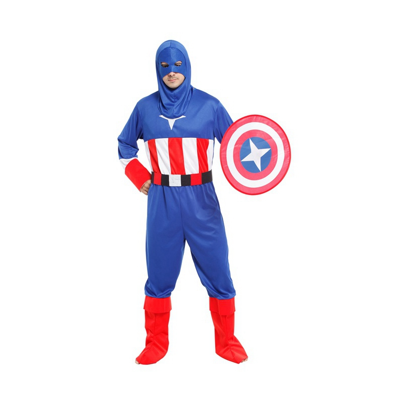 Umorden Carnival Halloween Costumes Super Hero Captain America Costume for Men Adult Cosplay Clothing Set with Shield