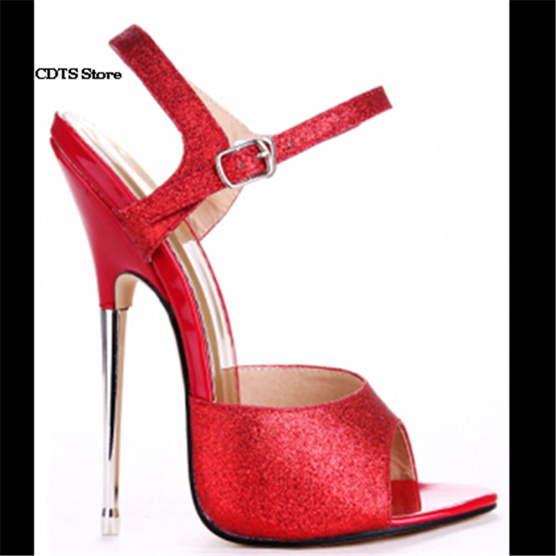 CDTS Crossdresser Red Sandals Plus size:35-45 46 Summer 16cm Metal Ultra High Thin Heels sequins shoes woman party pumps cdts plus 35 45 46 2016 spring summer 20cm ladies open toe ruffles thin high heels platform party pumps woman wedding shoes