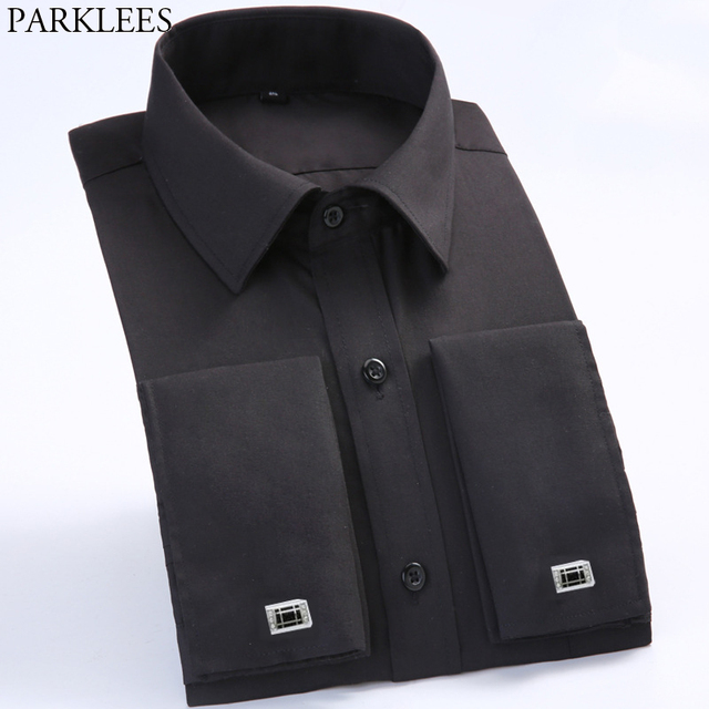aa0f3cc9 Mens Black Wedding Dress Shirts French Cufflink Long Sleeve Button Up Shirt  Solid Business Casual Plus
