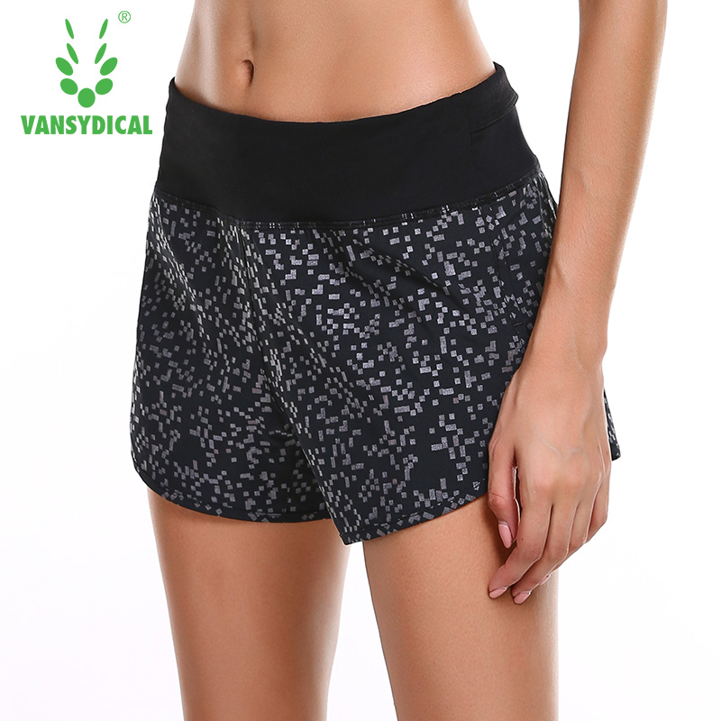 Vansydical High Quality Spring And Summer New Women's Sports Shorts Elastic Waist Fitness Running Shorts