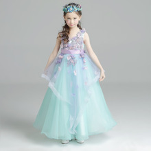 Formal Wedding Birthday Party Girls Dresses 2018 New Kids Clothes Cute Lace Flower+Bow Princess Ball Gown Dresses For Girls