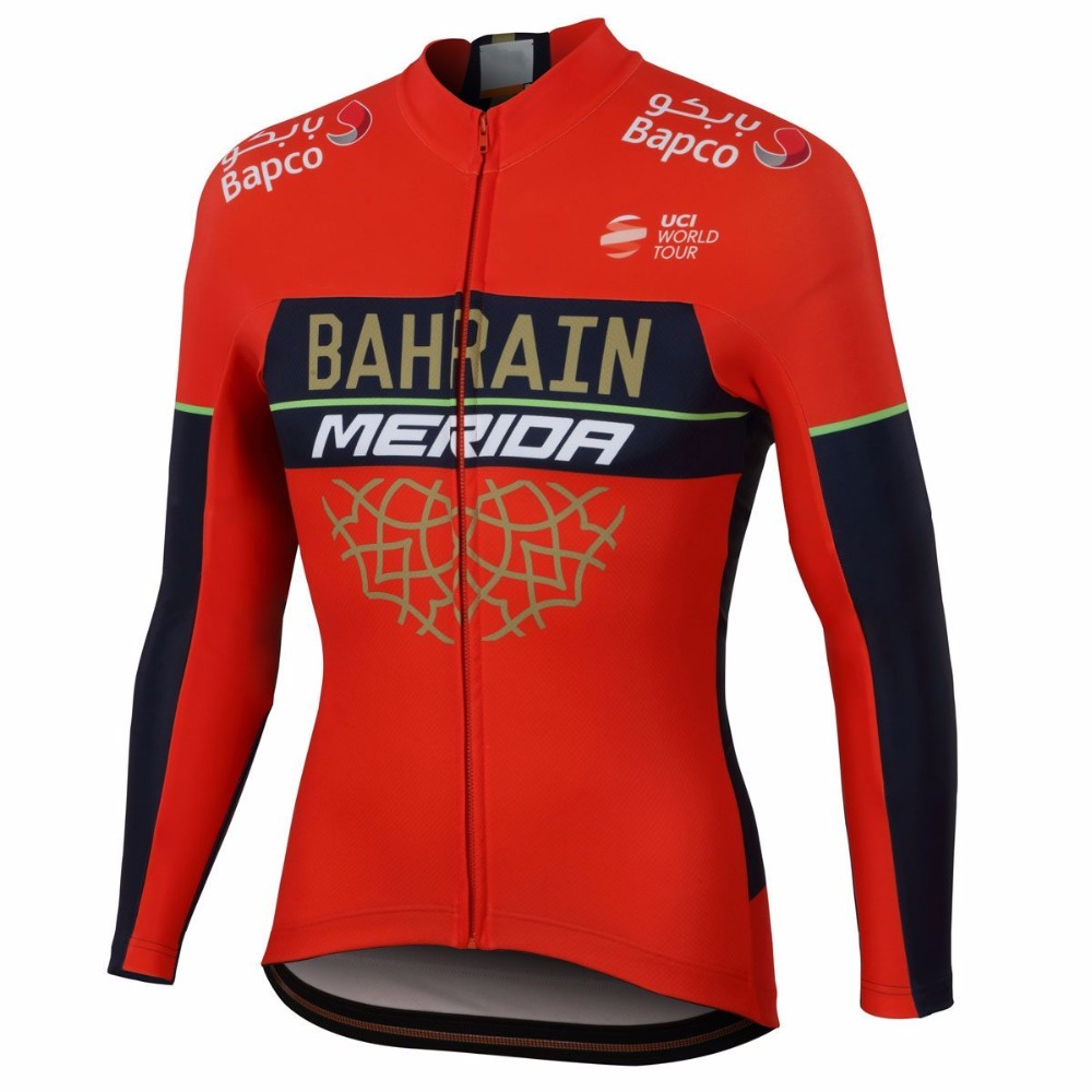 winter fleece 2018 uci pro team bahrain merida cycling jersey jacket men warmer Bicycle maillot MTB bike clothing Ropa Ciclismo asgharali lulutal bahrain