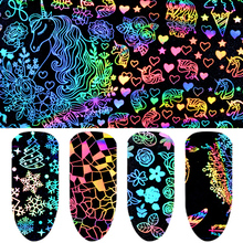 8 pcs/set Nail Art Foil Sticker Mixed Nail Kit 4*20 cm Nail Stickers Sparkly for Manicure Decal Laser Design Nail Sticker NDE 53 15 135cm adjustable lightweight aluminum universals tuning rear car sedan gt wing racing spoiler black clamp trunk cover