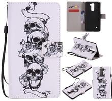 Красочный Узор скелет головы слот для карты бумажник PU Кожа Стенд Флип Новый чехол для LG Stylus 2 LS775 случае