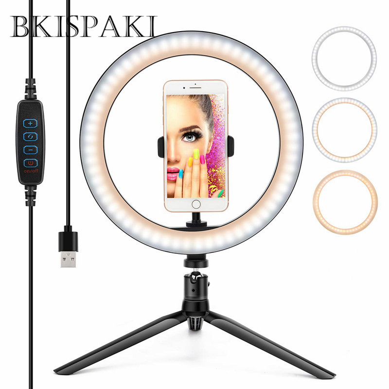 10.23 inch LED Selfie Ring Light YouTube Video Live Camera Light Photography Ring lampt With Phone Holder USB Plug Tripod