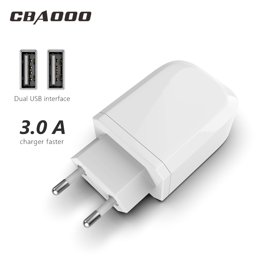 Double 3A Quick Charge usb Fast Mobile Phone Charger EU Plug QC3.0 USB Charger Adapter for iPhone x xr Samsung S9 Xiaomi Huawei