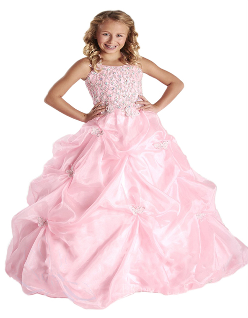 Hot Sale Kids Evening Gowns Straps Crystal Beaded Pleated Appliques ...