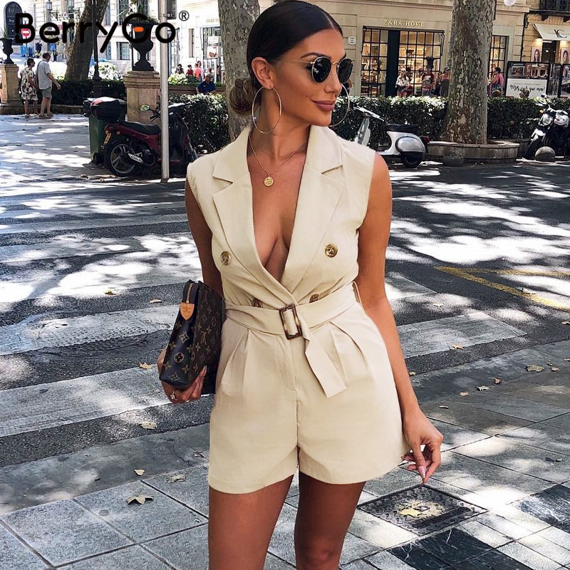 BerryGo Elegant sashes khaki cotton women playsuit Summer pockets button zipper rompers womens jumpsuit Office ladies playsuit