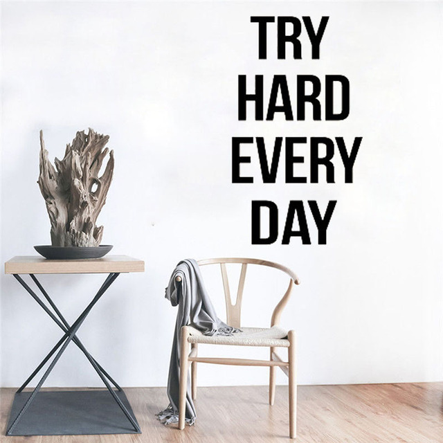 try hard every day self motivation quote vinyl decal gym fitness