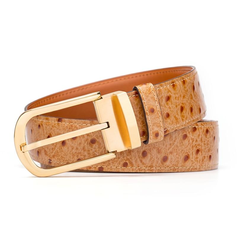 Cinturón de cuero genuino hombres patrón de avestruz piel de vaca cinturones masculinos para hombres cinturón dorado diseñador de alta calidad marca de lujo - 2