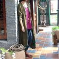 Johnature Fall 2016 New Solid Color Women Flax Trench Coat Original Long Sleeve Loose Plus Size Cardigan Irregular Long Trench