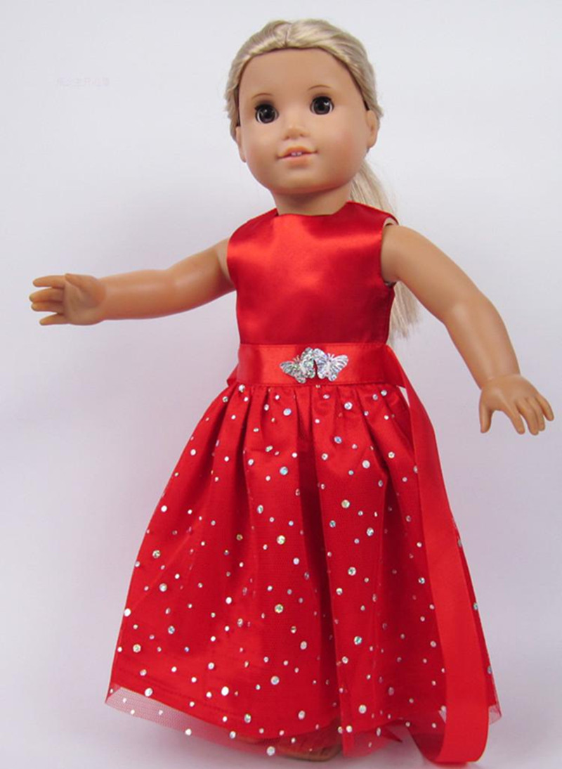 Handmade 15 Colors Princess Dress Doll Clothes for 18 inch Dolls American Girl Doll Clothes and Accessories b1-b20 american girl dolls clothing 6 styles elegant color flower print long dress for 18 inch doll clothes accessories girl x 40