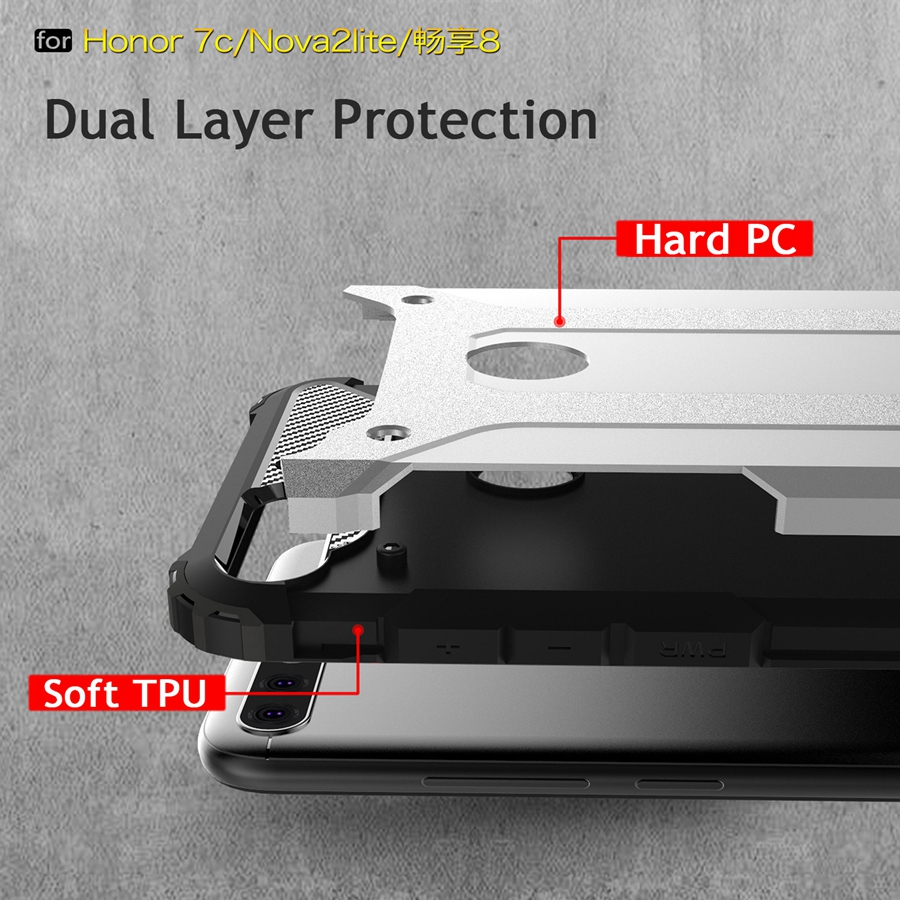 Armor Design for Huawei Nove 2 Lite Case Soft TPU Inside Hard PC Frame Phone Back Cover for Wahway Honor 7C Cover Nove2 Lite
