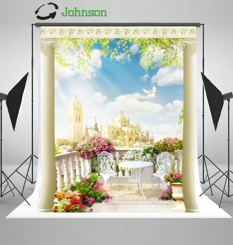 Column Flower Leaves Outdoor Patio Sun Sky Clouds Palace Backgrounds polyester Vinyl cloth Computer print wedding backdrops
