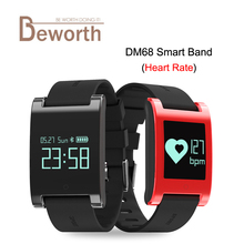 Dm68 Smart Band Приборы для измерения артериального давления сердечного ритма Мониторы браслет Фитнес сна трекер сообщение напоминание SmartBand