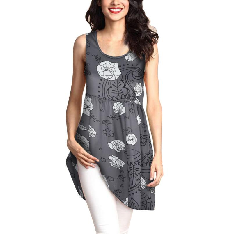 feitong 2018 New Hot Sale Spring Summer Women Fashion Sexy Sleeveless O- Neck Printed Long Tops Casual Loose Tee T-Shirt Clothes