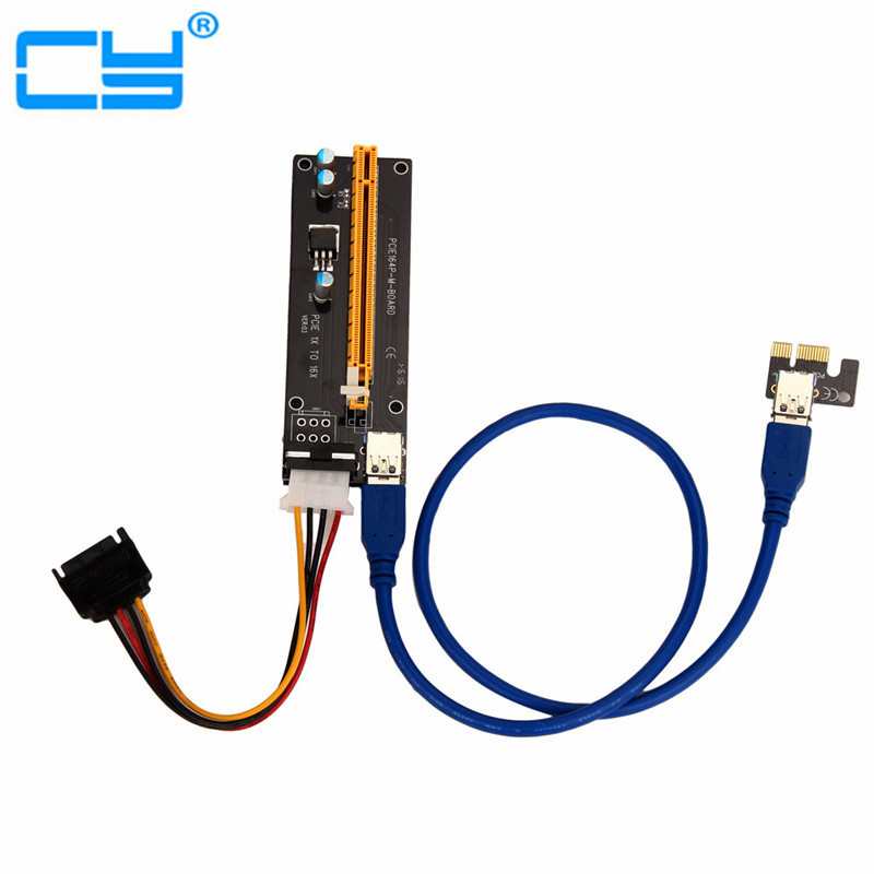 20PCS PCI-E PCI Express Riser Card 1x to 16x USB 3.0 Data Cable SATA to 4Pin IDE Molex Power Supply for BTC Miner Machine RIG
