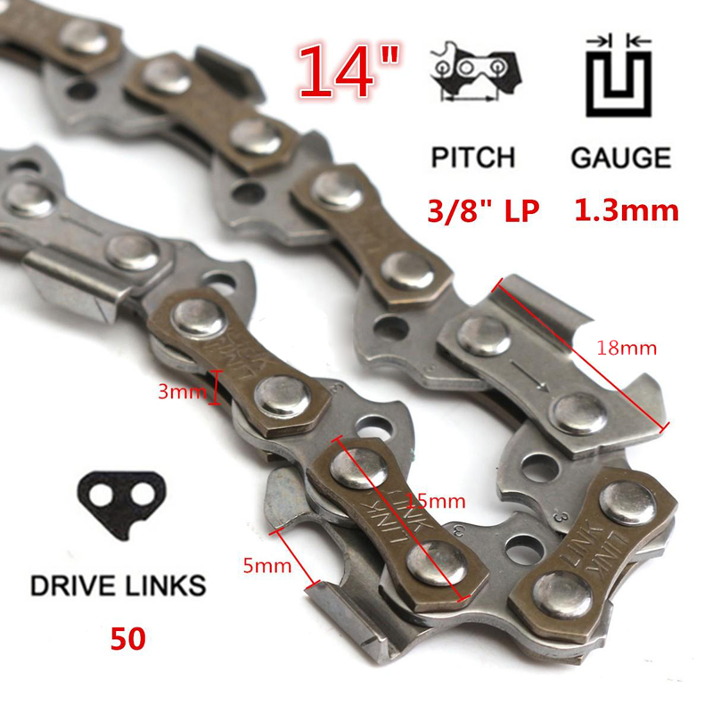 14'' Chainsaw Chain Blade 50-52 Drive Links 3/8 Pitch Chainsaw Saw Mill Chain Replacement Wood Cutting Chainsaw Parts