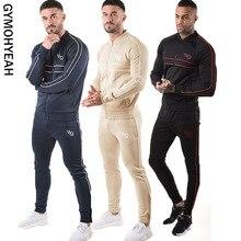GYMOHYEAH демисезонный для мужчин наборы для ухода за кожей спортивный костюм из двух предметов пуловер толстовки куртка на молниибрюки д