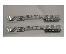 Chrome  V8 BITURBO 4MATIC  ABS Plastic Car Trunk Number Letters Badge Emblem Sticker for Mercedes Benz AMG V8 BITURBO 4MATIC