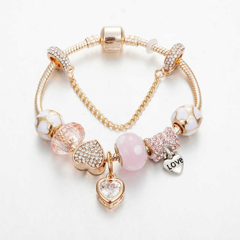 ANNAPAER Original Brac Pink charms for jewelry making Rhinestone Pendant Bracelet for Women Diy Jewelry Fit Wedding B18006