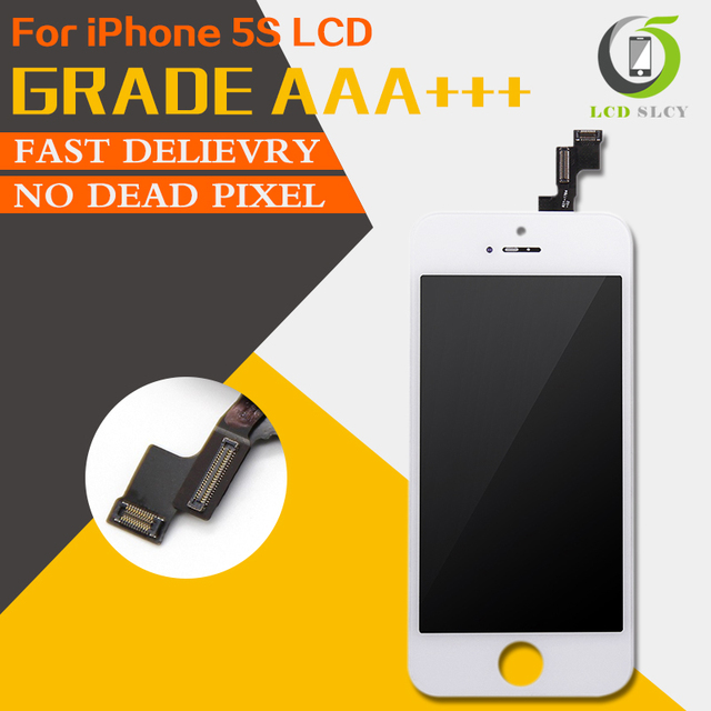 100% Grade AAA For iPhone 5S LCD Pantalla Screen Display Touch Screen Digitizer Assembly Black White replace Tempered film+Tools