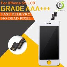 100% sınıf AAA iPhone 5S için LCD Pantalla ekran ekran dokunmatik ekran Digitizer meclisi siyah beyaz yerine temperli film + araçları
