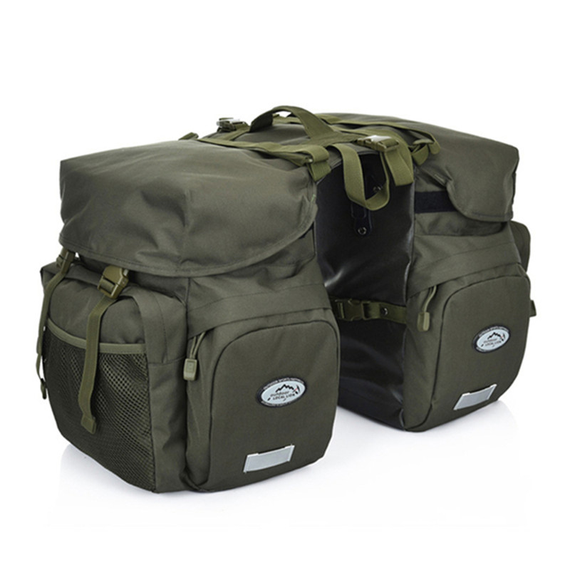 Outdoor Cycling Retro 50L Waterproof Canvas Bicycle Carrier Rear Rack Trunk Luggage Seat Reflectivs Storage 2side