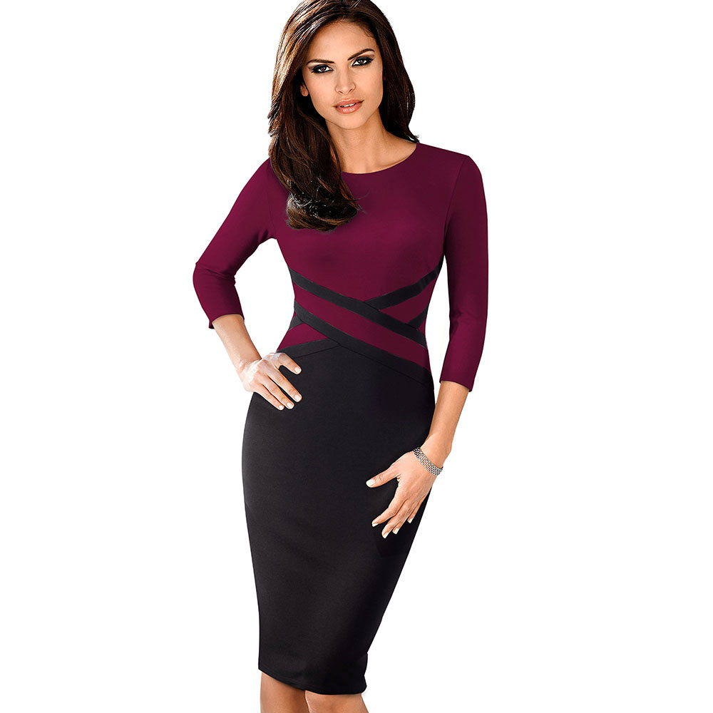 Nice-forever Vintage Elegant Contrast Color Patchwork Wear to Work vestidos Business Party Office Women Bodycon Dress B463 28