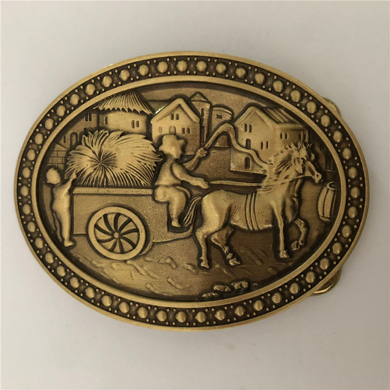 Vintage Antique Pure Brass Copper Big Belt Buckle People Catching Carriage Cowboy Mens Fashion Gift