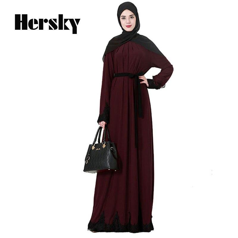Más el tamaño XXXL Abaya Dubai musulmanes vestido islámico encaje ...