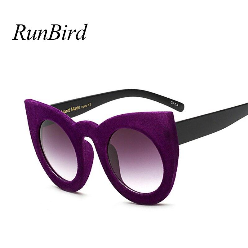 Cat Eye Sunglasses Women 2018 Fashion Plush Personality Border Velvet Frame Vintage Sun Glasses For Ladies UV400 Eyewear 5177R