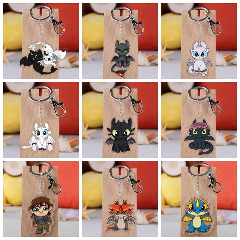 10 Style How To Train Your Dragon 3 Toothless Keychain Acrylic Twoside Print Cartoon Figures Keyrings Portachiavi Children Toys