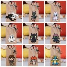 10 Style How To Train Your Dragon 3 Toothless Keychain Acrylic Twoside Print Cartoon Figures Keyrings Portachiavi Children Toys