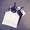 Verão sexy pequeno colete mulheres plus size bainha spaghetti strap feminino coletes sólida curto colete mulheres clothing preto white188