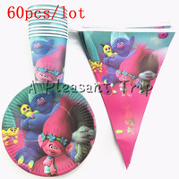 60pcs Trolls Theme 20 Plates 20cups 20 Flag Happy Birthday Party Supplies 20person Party Decoration Tableware
